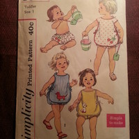 Complete 1950's Simplicity Sewing pattern, 3501! 2-Piece Sunsuit/Panties/Bib Top