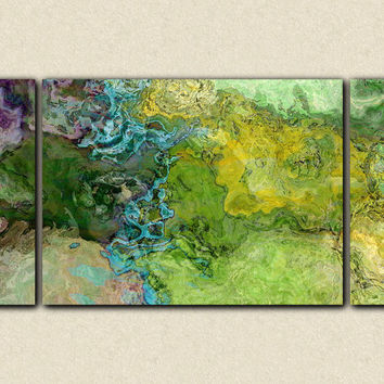 "Abstract art, 30x60 triptych gallery wrap giclee large canvas print, in green and blue, from abstract painting ""Southern Spring"""