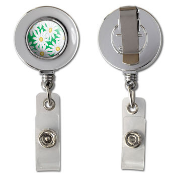 Daisies Canvas Retractable Reel Chrome Badge ID Card Holder