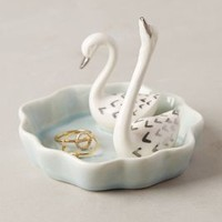 Swimming Swans Trinket Dish by Anthropologie Blue Trinket Dish House & Home