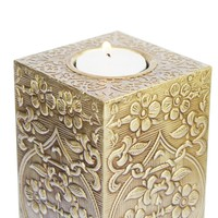 10 Inch Column Candle Holder - Tall, Beautiful, Elegant, Golden Colored Tealight
