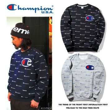 ONETOW Champion full body printing men and women couples round neck hooded sweater