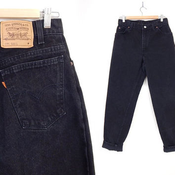 Vintage 90s Black Levi's 15951 High Waisted Mom Jeans - Size 12 - Tapered Leg Orange Tab Relaxed Fit Womens Jeans - 31 Waist