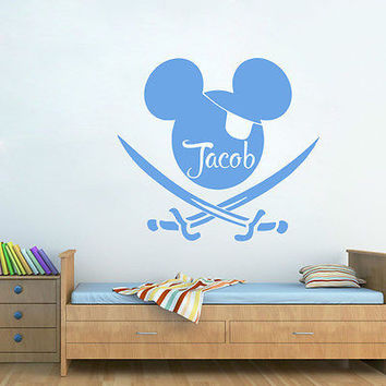 Boy Decals Personalized Name Wall Decal Mickey Mouse Nursery Room Decor DS410