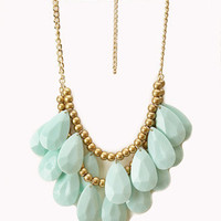 Layered Faux Stone Fringe Necklace