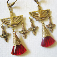 Vintage Egyptian Revival Isis Goddess Earrings Ruby Red Czech Glass Earrings  Art Deco Winged Goddess Statement Jewelry