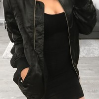 Alyssa Silk Bomber (Black)