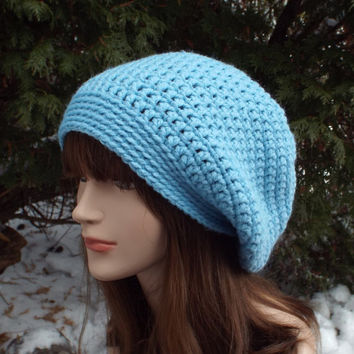 Sky Blue Slouch Beanie - Womens Slouchy Crochet Hat - Oversized Cap - Light Blue Chunky Hat