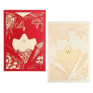 10Pcs Laser Cut Couple Hollow Out Wedding Evening Invitations Cards Personalized Envelopes Seals