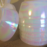 Federal Glass Company Milk Glass MoonGlow Iridescent Pearlescent