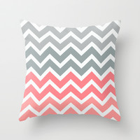 Chevron Pink Fade Throw Pillow by RexLambo