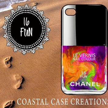 16 Fun Chanel Nail Polish Bottle Apple iPhone 4&5 Protective Hard Plastic or Rubber Cell Phone Case Vibrant Colorful Design