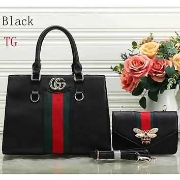 Gucci two sets of beautiful women trendy leather handbag F-LLBPFSH Black