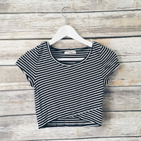 Rachel Striped Cross Bottom Crop Tee