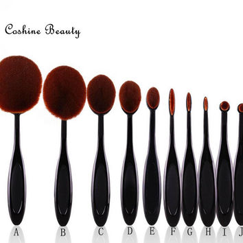 Professional 10pcs/set Tooth Brush Shape Oval Makeup Brush Set