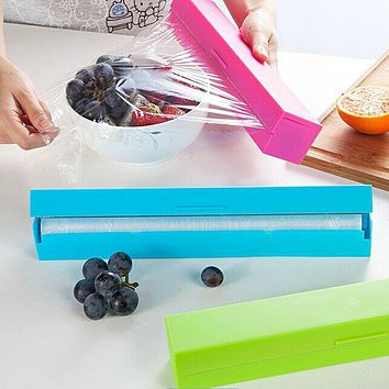 Plastic Food Wrap Dispenser Preservative Cling Film Cutter Cooking Tool Kitchen Accessories Vegetable Roll Bags Cutter