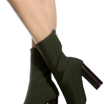 Olive Woven Chunky Ankle Booties @ Cicihot Boots Catalog:women's winter boots,leather thigh high boots,black platform knee high boots,over the knee boots,Go Go boots,cowgirl boots,gladiator boots,womens dress boots,skirt boots.