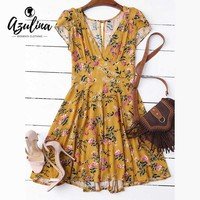 AZULINA Flower Floral Print Summer Dress Women V Neck Cut Out Mini Beach Dress Casual Short Boho Dress vestidos de festa 2017