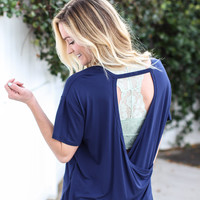 Sky Fall Open Back Tee - Navy
