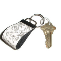 Paris Street Map Fabric Keychain