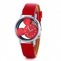 Women  Hollow Out Minnie Mouse Style Dial Leather Quartz Wrist Watches