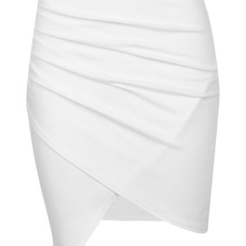 Petite Millie Ruched Side Asymmetric Midi Skirt | Boohoo