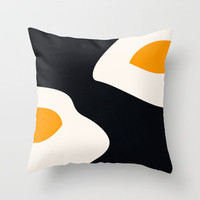 fried eggs Throw Pillow by Gréta Thórsdóttir | Society6