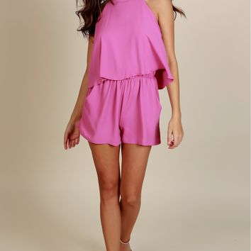 Treat You Right Ruffle Romper Rose Pink