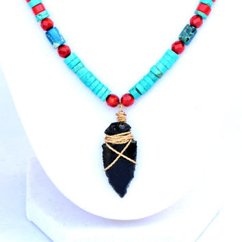 Arrowhead Necklace. Arrowhead Pendant. Gem Stone Necklace. Gem Stone Jewelry .Tribal Jewelry. Primitive Jewelry. Turquoise Jewelry. Coral