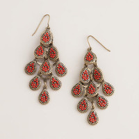 Coral and Gold Chandelier Earrings | World Market