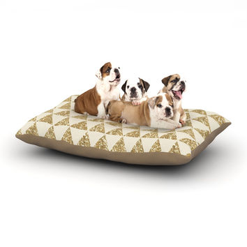 "Nika Martinez ""Glitter Triangles in Gold"" Tan Yellow Dog Bed"