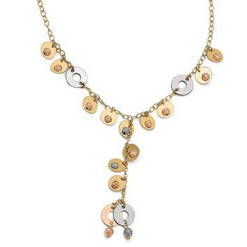 14k Tri-Color Gold Fancy Disc Drop Adjustable Necklace, 17 Inch