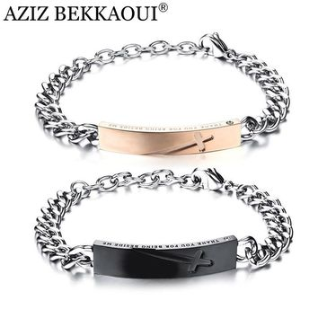 AZIZ BEKKAOUI Engraved Logo Couple Bracelets & Bangle Stainless Steel Cross Bracelets For Women Men Lovers' Jewelry Dropshipping
