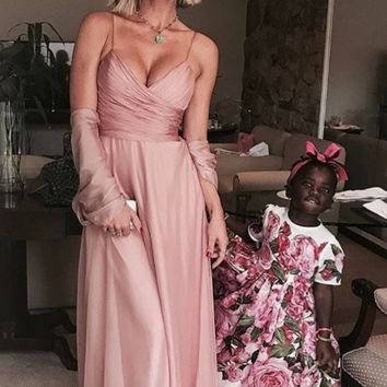 Straps Pink Long Evening Dress V Neck Prom Dress