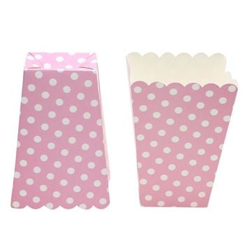 1bag 12pcs Pink Dot popcorn box Party Supplies popcorn box Birthday Party Supplies Party/Food/Retro/Hollywood/Movie/Treat