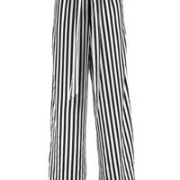 Amara Tie Waist Striped Wide Leg Trousers | Boohoo