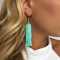 Mint Bead Dangle Earrings