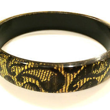 Golden Black Plastic Bangle Bracelet True Vintage Jewelry 80s different unique