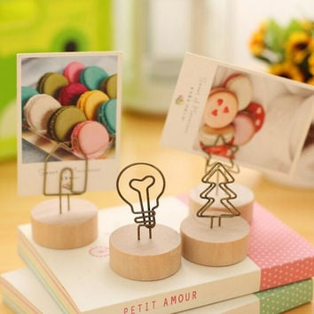 1 x Vintage wooden desktop figurines, wrought iron message note clip to clip pictures photo holder Home decor Arts crafts gift