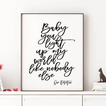 ONE DIRECTION ART Typography Art Print Song Lyrics One Direction Infinity Lyrics Quote Print Printable Minimalist Poster One direction quote