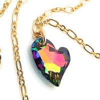 RainbowNecklace, Multicolor Jewelry, Colorful Necklace, Pendant, Crystal Heart, Gold Chain, Neon Jewelry, Gift for Teen