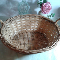 Wicker Basket - traditional french vintage shopping basket, christmas hamper basket to fill with food and wine,