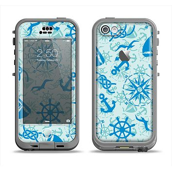 The Blue Nautical Collage V5 Apple iPhone 5c LifeProof Nuud Case Skin Set