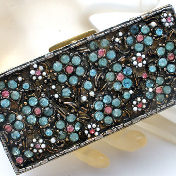 Vintage Cigarette Case Trinket Box Flower Rhinestones & Beads