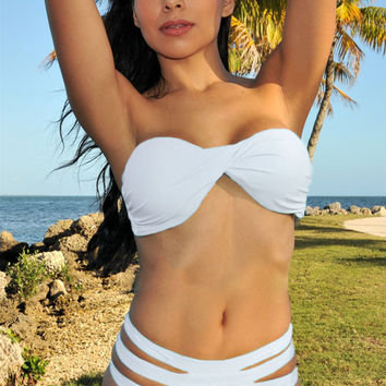 White Ruched Padded Strapless Bikini with Strappy Buttom