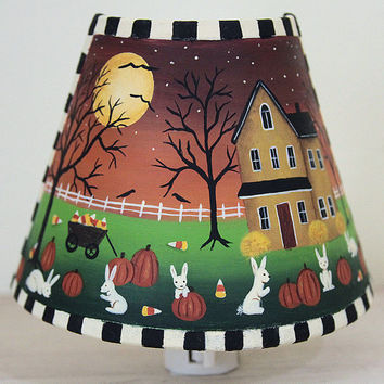 RESERVED FOR GRAYZ157 - Halloween Decoration Folk Art Hand Painted Night Light with Haunted House, Bunnies, Pumpkins, Spooky Trees