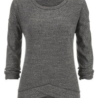 Thermal Crossover Hem Pullover - Gray