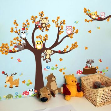 3D wallpaper cartoon forest animals owl monkey tree wall sticker personality creative bedroom living room decorative murals