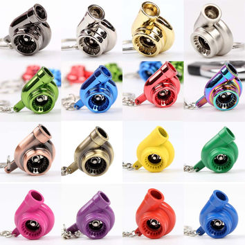 Sleeve Bearing Spinning Turbo Turbine Keychain Key Chain Keyring turbocharger Multiple Colors 1PCS