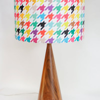 """Lamp Shade - 14"""" Drum - Houndstooth - Bright and Colorful-  """"Happy houndstooth"""" - Linen - Cotton Blend - Washer Top / Harp Fitting"""